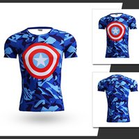 Wholesale 2016 Marvel Super Heroes Captain America Transformers Running short T shirts Avenger D breathable tights Gym fitness shirt