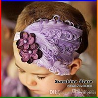 baby retail stores - Sunshine store B2221 retail baby headband violet purple flower pearl feather headband Christmas hair band Free CPAM