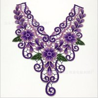 Wholesale Embroidered Lace Collar Purple Gold Patches Applique Polyester Neckline Scrapbooking Embossed Sewing Accessories