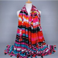 artistic scarves - New India Style Tassels feathering Scarves and Shawls for Women Fashion Design Artistic Style Bandana and Pashmina for Ladies cm