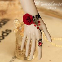 Wholesale Fashion Chic Girls Handmade Gothic Lolita Retro Black Crochet Lace Bead Vampire Slave Bracelet Ring Bride Wedding Wristband Red Flower Rose