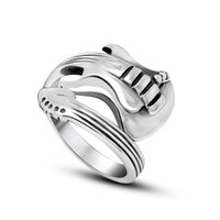 american musical instruments - Men s Vintage L Stainless Steel Guitar Shape Blank Wrap Signet Bands Rings Twisted Musical Instrument Shiny Polished Shiny Black Silver