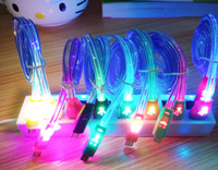 Wholesale Micro USB Cable Cute Smile Face LED Light Cable M FT Charger Cable for Android Cell Phone iphone4 iphone5 iphone6