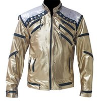 best rock classics - Rare PUNK Rock Motorcycle Classic MJ MICHAEL JACKSON Costume Beat it Golden Zipper Jacket For Fans Imitator Best Gift