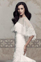Cheap Elegant Stretch Net cape with Paloma Re-embroidered Lace scallop edging Vintage Simple Wedding Dresses Jacket Free Shipping Cheap