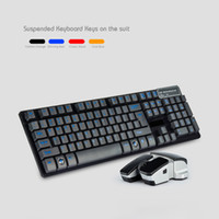Wholesale 2 GHz Slim Suspended Wireless Keyboard and Wireless Mouse Set Black Red Orange Blue Keyboard Mouse Combos