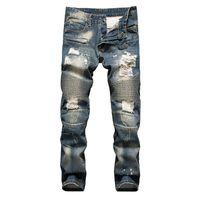 Wholesale In the famous brand senior designer crime locomotive denim jeans capris balmain puncture hole jeans size to