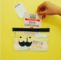 Wholesale Hot selling Multi Purpose Transparent Kawaii Mustache Beard Edge Makeup Bags Stationery Bags Fresh Pencil Case