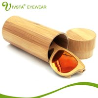 Wholesale IVSTA Natural Round Bamboo box for Wood Sunglasses Bambu case Sun Glasses Custom Wooden cases Handcrafted maderia VB0478 free logo custom