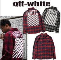 Wholesale Tide brand hot sales off white star with red plaid shirt shirt fashionable men and women models