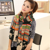 Wholesale Winter New Fashion Snow Flower Deer Print Women Men Causal Scarf thick warm wool scarves