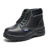 Wholesale Men s Work Safety Shoes Protective Boots Cow Leather Smash proof Penetration resistant Water Resistant Steel Toe Black Shoes