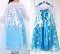 anime flower girl - Lovely Girl Princess Elsa Dress New Halloween Christmas Party Cosplay Costume Summer Print Flower Girl dresses Anime Vestidos Robe