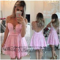 Wholesale Short Sleeves Pink homecoming dresses Knee Length Pearl Backless Short Homecoming Gowns Sexy Party Dresses