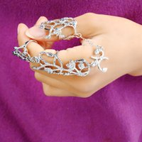 american armor - 2016 Newest Silver Plated Gothic Punk Rock Leaf knuckle Joint Armor Long Full Finger Ring Double Finger Ring Gift for women girl