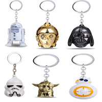 Wholesale Star Wars BB8 R2D2 C3PO droid keychain toys set NewForce Awaken clone trooper kylo ren black knight Darth Vador Yoda toy
