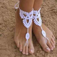 Wholesale Beach wedding Crochet wedding Barefoot Sandals Nude shoes Foot jewelry Bridal Victorian dancing anklets Sexy Yoga Anklet