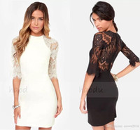 Wholesale Sexy Sheath High Neckline In Stock Short Cocktail Dresses Zipper Back Lace Party Dresses Half Sleeve Prom Dresses L1276
