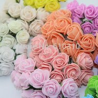Wholesale Sale cm head Multicolor PE rose foam mini flower Bouquet solid color Scrapbooking artificial rose flowers