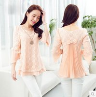Wholesale In the summer of new female short sleeved chiffon shirt sleeve slim Dress Size Korean temperament in a lace blouse