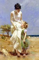 Wholesale Stunning Genuine Pure Hand Painted Female Portrait Oil Painting On Canvas Mother and Girl by the beach