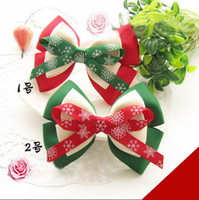 Wholesale Christmas headwear winter snowflake bowknot Hair Jewelry Centipede braid Fish mouth clip Hairpin