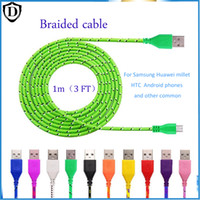 Wholesale 1 for Micro USB Braided Fabric V8 Charger Data Sync Nylon Flat Cable Cord Adapter Charging Flat Noodle for Android all iphone