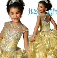 Wholesale 2017 Sparkly Coral Organza Ritzee Girl s Pageant Dresses Lovely Gold Beaded Crystal Ruched Little Girl Prom Dress Flower Girl s Gown RG7020