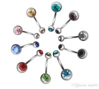 Wholesale New Surgical Steel navel rings Crystal Rhinestone Belly Button Navel Bar Ring Body Jewelry Piercing