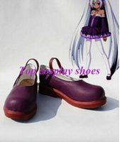 aku boots - Freeshipping Vocaloid Aku Yamine PU Cosplay Shoes boots purple custom made for Halloween Christmas festival