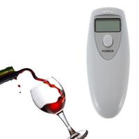 Wholesale Mini alcohol tester Personal Portable LCD Digital Alcohol Lanyard Breathalyzer Breath Tester Analyzer Detector White