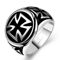 Wholesale Punk Men Rings Dull Black Titanium Male Ring Stainless Steel Jewelry Quality Cheap Cross Ring Rock Punk Style RG