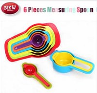 Wholesale 50sets Sets Candy Color Home Measuring Spoon Save Space Rainbow Cup Volume Coffee Milk Spoon Cooking Kitchen Measuring
