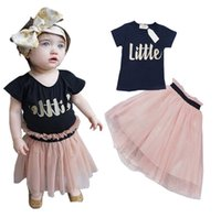 baby girl vest - 2016 INS HOT Girl Summer Clothes Sets Girl Cotton T shirts Tutu Skirt Piece Sets Baby Clothes Suits KB315