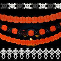bat craft - Paper Chain Banner Garlands m Halloween Party Decoration Festival Craft Supplies Pumpkin Bat Ghost Spider Skull Design