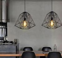 Wholesale Nordic Diamond Vintage Loft Pendant Lamp Iron Cage Industrial Pendant Light Bar Warehouse Dining Hall Fixture Lighting