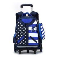 backpack trolley bags - Popular Student School Bag Boys Girls Trolley Bookbag Child Wheeled Backpack Mochila Infantil Kids Travel Luggage Book Bags ZF0395