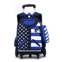 backpack wheels - Popular Student School s Girls Trolley Bookbag Child Wheeled Backpack Mochila Infantil Kids Travel Luggage Book Bags ZF0395