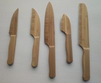 bamboo chef - 5pcs in one set multiple kitchen knives bamboo kitchen knives Utility knife Santonk knife Chef knife Bread knife