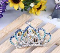 Wholesale ss Children Luxury Hair Tiaras Fashion Crown Headware Birthday Party Crystal Inlaid Tiaras For Girls Princess Queen Headband