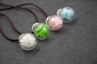Botella Maxi collar de la muchacha Collares redondo de moda de Nueva hecha a mano de cristal collar Boutique secada verdadera de la joyería pendiente de la flor para las mujeres