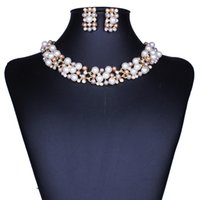 Wholesale European and American Fashion Bride Jewelry Set Network Hot Style Bridal Jewelry Suit Imitation Pearl Necklace Earrings Set