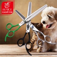 Wholesale 7 inch Professional Pet grooming scissors High Class Thinning shears for dogs Toothed Blade Stainless Steel flexible paint handle