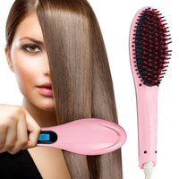 Wholesale LCD Display Straightening Hair Comb Electric Straightening Pink Black White One Color EU Plug Brush Hair Straightener Comb Irons Come Sale A
