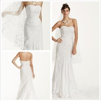Sheath/Column backless strapless body - 2016 Lace Sheath Wedding Dresses Strapless neckline the whole body lace detail ribbon at the waist and Back Zipper WG3381 gowns