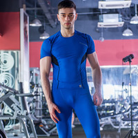 Wholesale 2016 Fitness Compression Short Sleeve Men Sport Running Tights T Shirt Bodybuilding Jersey Breathable Gym Clothing Quick drying T Shirts