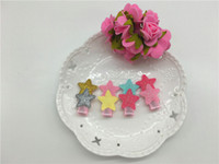 assorted glitter - Colors Cute Glitter PU Star Patchwork Girls Hair Clips Solid Mini Star Assorted Colors BB Girls Hairpins Be