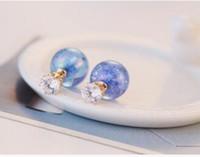 Wholesale Retro Bead Pearl Earrings Stud Double Side Wedding Earing Lotus Flower Red Black White Gray Pearls