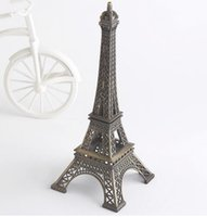 metal decor - 15cm Bronze Paris Eiffel Tower Metal Crafts Figurine Statue Model Home Decors Souvenir