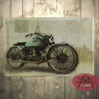 Wholesale Motorcycle wall mural Garage oil station Tin Signs Wall Art decor Bar Metal Iron Painting C